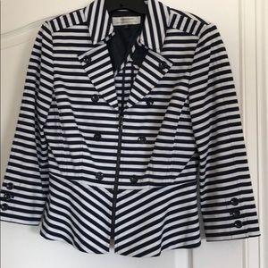 Tahari blue striped peplum jacket size 10